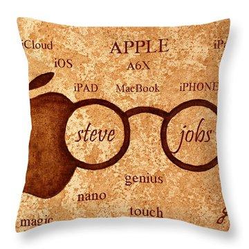 Tribute To Steve Jobs 2 Digital Art Throw Pillow by Georgeta  Blanaru