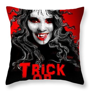Trick Or Treat Throw Pillow by Carol Jacobs
