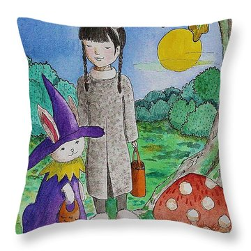 Trick Or Treat Throw Pillow by Qian Chen