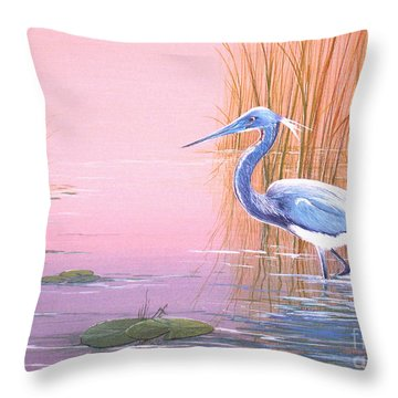 Tricolored Heron Throw Pillow