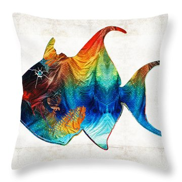 Trigger Happy Fish Art By Sharon Cummings Throw Pillow by Sharon Cummings