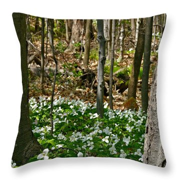 Throw Pillow featuring the photograph Trillium Carpet by Henry Kowalski