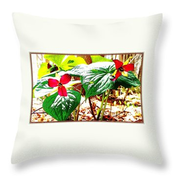 Trillium In The Woods Throw Pillow