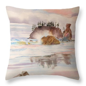 Throw Pillow featuring the painting Trinidad Rocks by John Norman Stewart