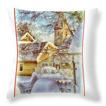 Trinity Episcopal Church In The Snow - Shepherdstown  Throw Pillow