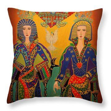 Throw Pillow featuring the painting Trinity by Marie Schwarzer