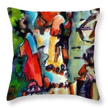 Throw Pillow featuring the painting Trio Birch 2014 by Kathy Braud