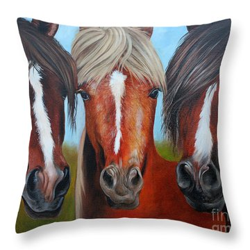 Throw Pillow featuring the painting Trio by Debbie Hart