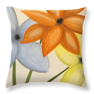 Trio Of Flowers Throw Pillow by Tim Townsend