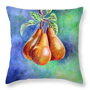 Trio Of Pears Throw Pillow by Dion Dior