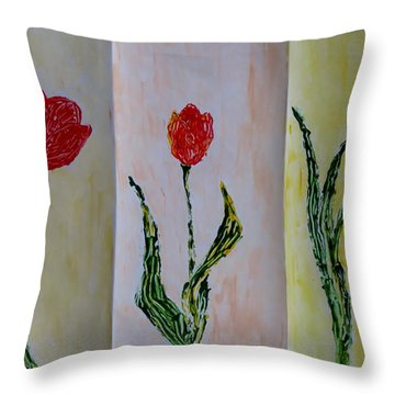 Trio Of  Red Tulips Throw Pillow by Sonali Gangane