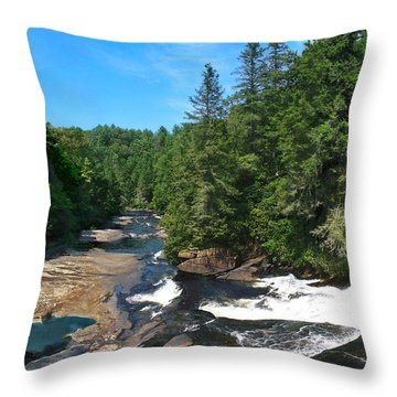 Triple Falls North Carolina Throw Pillow by Steve Karol