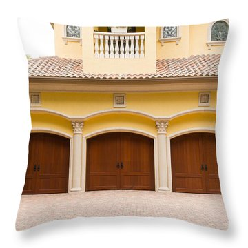Triple Garage Doors Throw Pillow