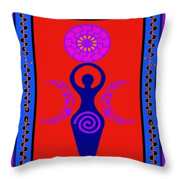 Throw Pillow featuring the digital art Triple Goddess by Vagabond Folk Art - Virginia Vivier
