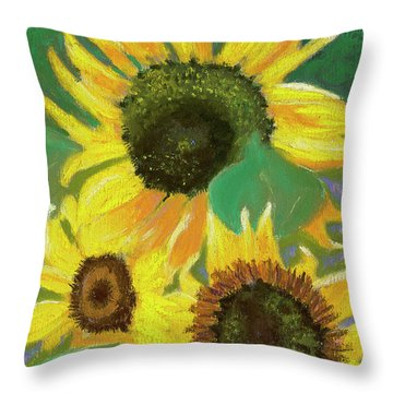 Triple Gold Throw Pillow by Arlene Crafton