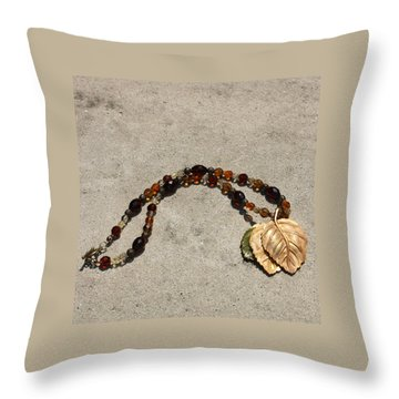 Triple Leaf Costume Brooch Pendant Necklace 3637 Throw Pillow by Teresa Mucha
