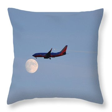 Southwest Airlines Flies To The Moon Throw Pillow by Kelly Reber