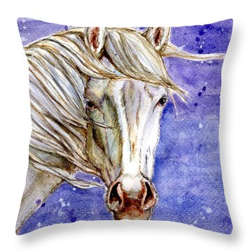 Tripod Wild Stallion Of The Sand Wash Basin Throw Pillow