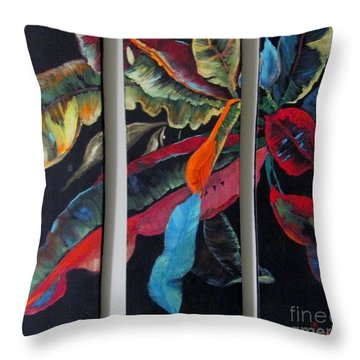 Throw Pillow featuring the painting Triptych Leaves by AnnE Dentler