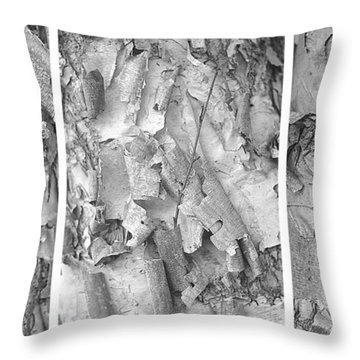 Triptych Of Curling Tree Bark In Black And White With A White Background Throw Pillow