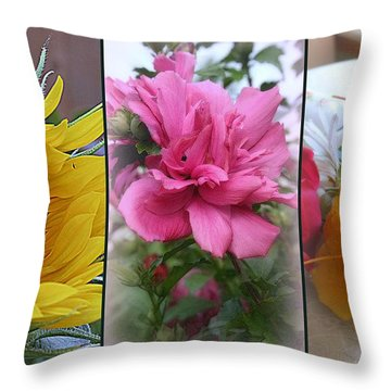 Triptych Of Summer Florals Throw Pillow by Kay Novy