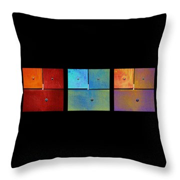 Triptych Red Cyan Purple - Colorful Rust Throw Pillow by Menega Sabidussi