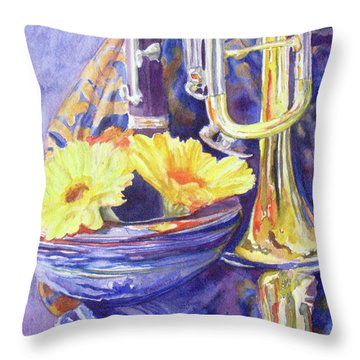 Triumphant Daisies Throw Pillow by Jenny Armitage