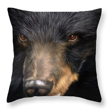 Trixie Moon Bear - In Support Of Animals Asia Throw Pillow by David Stribbling