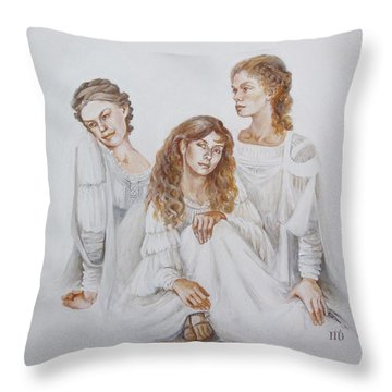 Throw Pillow featuring the painting Trois by Marina Gnetetsky