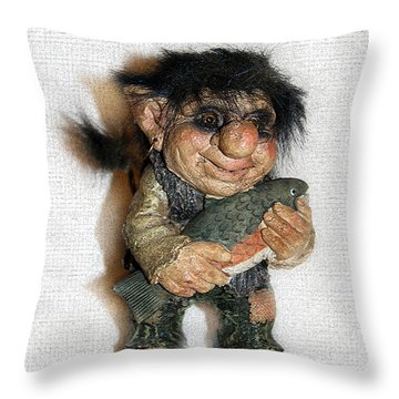 Troll Fisherman Throw Pillow by Sergey Lukashin