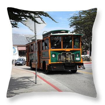 Trolley At The Monterey Bay Aquarium On Monterey Cannery Row California 5d25105 Throw Pillow