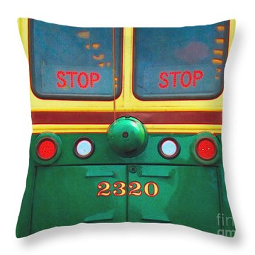 Trolley Car - Digital Art Throw Pillow