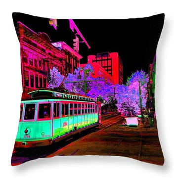 Trolley Night Digital  Throw Pillow