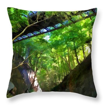 Throw Pillow featuring the photograph Trolley Trail #9 - Under Westchester Avenue by Dana Sohr