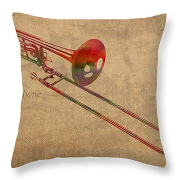 Trombone Brass Instrument Watercolor Portrait On Worn Canvas Throw Pillow