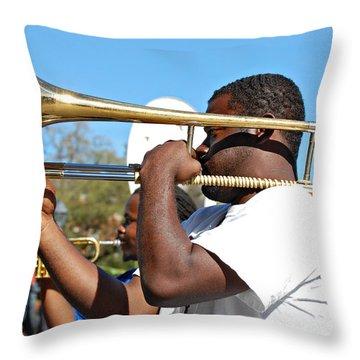Trombone Man Throw Pillow by Steve Harrington