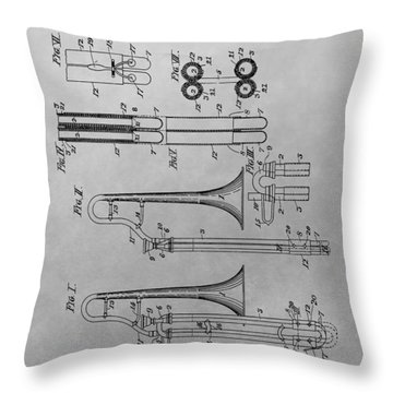 Trombone Patent Drawing Throw Pillow by Dan Sproul