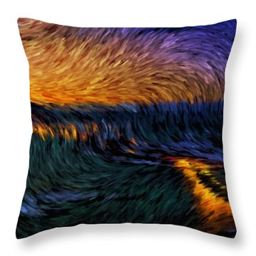 Throw Pillow featuring the painting Tromso Norway By Night by Mario Carini