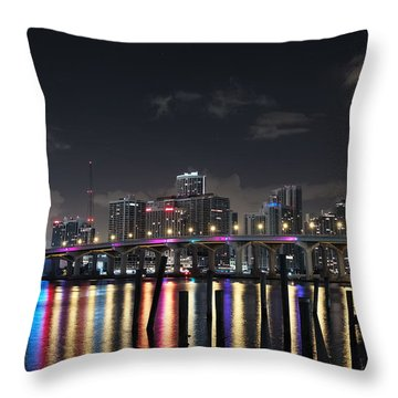 Throw Pillow featuring the photograph Trooper Bridge Miami by Gary Dean Mercer Clark