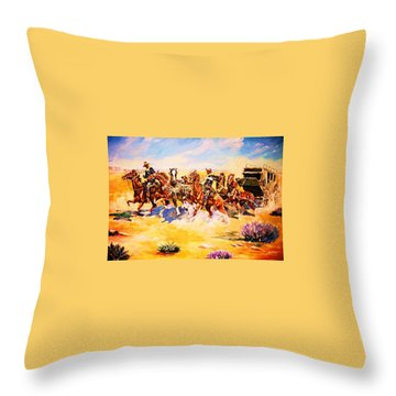 Troopers Stopping A Runaway Coach Throw Pillow
