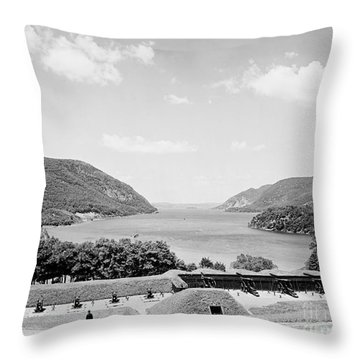 Trophy Point North Fro West Point In Black And White Throw Pillow