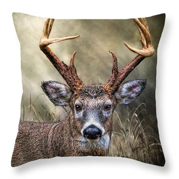 Throw Pillow featuring the digital art Trophy 10 Point Buck by Mary Almond