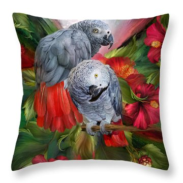 Tropic Spirits - African Greys Throw Pillow