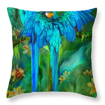 Tropic Spirits - Gold And Blue Macaws Throw Pillow