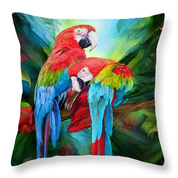 Tropic Spirits - Macaws Throw Pillow by Carol Cavalaris