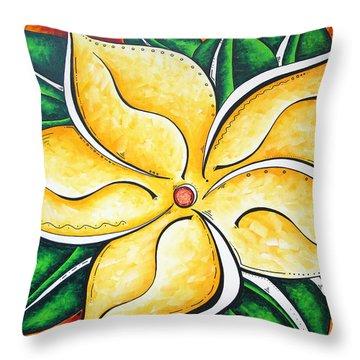 Tropical Abstract Pop Art Original Plumeria Flower Painting Pop Art Tropical Passion By Madart Throw Pillow by Megan Duncanson
