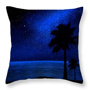Tropical Beach Wall Mural Throw Pillow by Frank Wilson