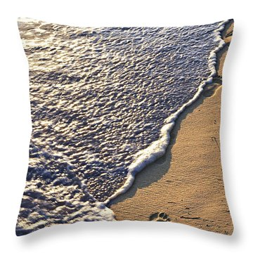 Tropical Beach With Footprints Throw Pillow