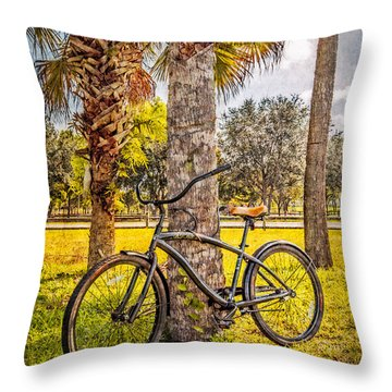 Tropical Bicycle Throw Pillow by Debra and Dave Vanderlaan