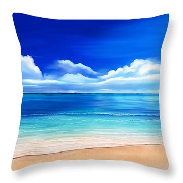 Throw Pillow featuring the drawing Tropical Blue by Anthony Fishburne